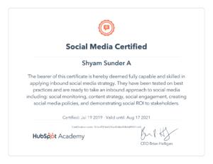 Shyam Social Media Certificate